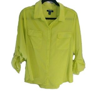 Old Navy yellow silky button down shirt